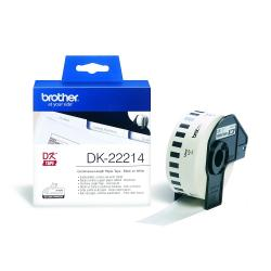 Brother-DK-22214-White-Continuous-Length-Paper-Tape-12mm-x-30.48m-Black-on-White