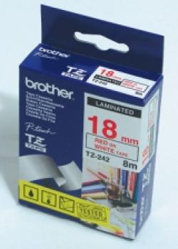 Brother-TZe-242-Tape-Red-on-White-Laminated-18mm-8m-Eco
