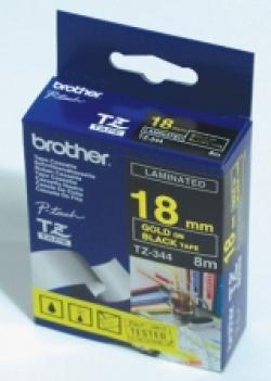 Brother-TZe-344-Tape-Gold-on-Black-Laminated-18mm-8m-Eco