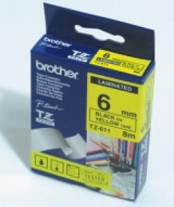 Brother-TZe-611-Tape-Black-on-Yellow-Laminated-6mm-Eco