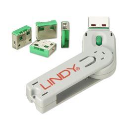 LINDY-40451-Sistema-za-zaklyuchvane-na-USB-portove-1-klyuch-4-port-blokera-Zelen