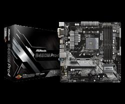 ASROCK-B450-PRO4-AM4-B450-4xDDR4-PCIe-3.0-x16-PCIe-2.0-x1-M.2-4-SATA3-mATX