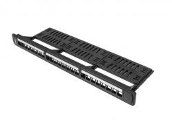 Lanberg-patch-panel-blank-24-port-1U-with-organizer-for-keystone-modules-black