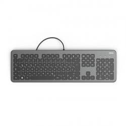 Klaviatura-bezshumna-HAMA-KC-700-s-kabel-USB-kirilizirana-Cheren-Siv