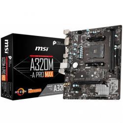 MSI-Main-Board-Desktop-A320-SAM4-2xDDR4-PCI-Ex16-PCI-Ex1-mATX-Retail